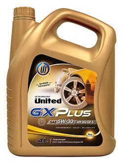 Полусинтетическое моторное масло для легкового транспорта, United GX Plus способствует уменьшению выбросов, экономит расход топлива, защищает двигатель