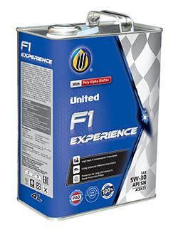 Полностью синтетическое моторное масло United F1 Experience c пониженным содержанием сульфатной зольности, фосфора и серы, разработано по последним технологиям для максимальной защиты новейших бензиновых двигателей