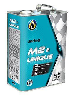 100% синтетическое моторное масло United M2 Unique для бензиновых и дизельных двигателей с системой прямого впрыска, обладающее топливосберегающими свойствами