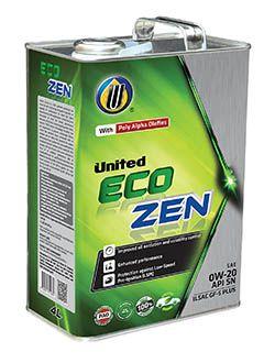 100% синтетическое моторное масло United Eco-Zen для легковых автомобилей с двигателями последнего поколения с турбонаддувом (TGDI) с непосредственным впрыском бензина.