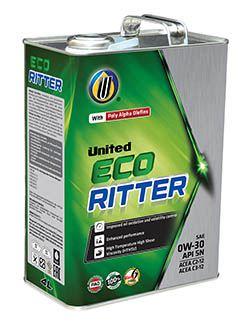 100% синтетическое моторное масло United Eco-Ritter для легковых автомобилей удовлетворяет самые высокие требования к производительности двигателей последнего поколения, имеющие более жесткие допуски и требующие высокого уровня защиты и масла с низкой вязкостью